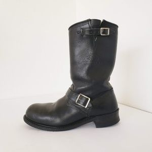 Carolina men riding moto black leather  boots